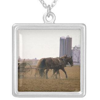Amischer Bauer, der einen Pferd gezeichneten Versilberte Kette