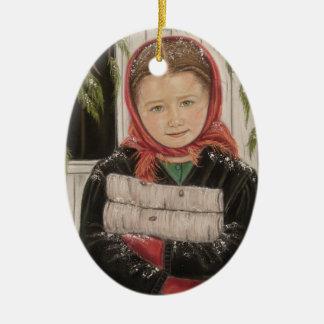 Amisches Mädchen mit Keramik Ornament