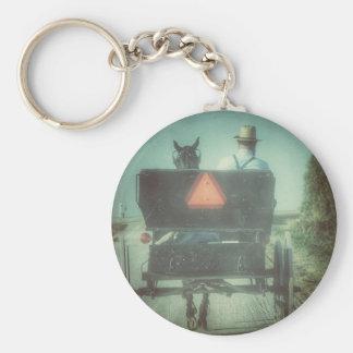 Amisches Pferd und Buggy Schlüsselanhänger