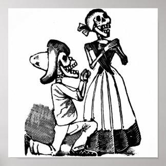 Amor Calavera, Skeleton Liebhaber C. 1900s Poster