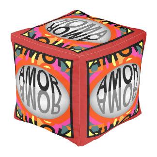 AMOR Designer-Puff-Zuhause Dekor-Mehrfarbig Kubus Sitzpuff
