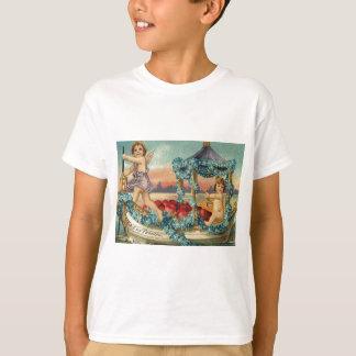 Amor-Engel-Gondel-Herz-Vergissmeinnichte T-Shirt