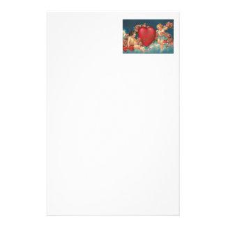 Amor-Engel-Herz-Rose bewölkt Himmel Briefpapier