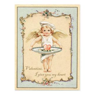 Amor-Engels-Herz-Vintage Wiedergabe Postkarte