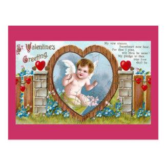 Amor im Zugang zu Ihrem HerzVintagen Valentine Postkarte
