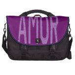 AMOR (Liebe auf spanisch) in Lila Laptop Tasche