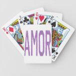 AMOR (Liebe auf spanisch) in Lila Spielkarten