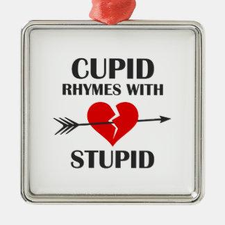 Amor-Reime mit dummem Valentinstag Silbernes Ornament