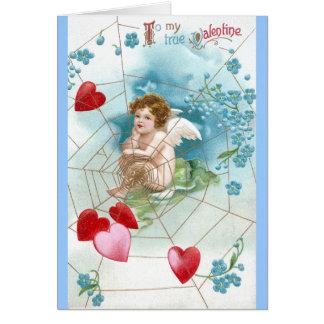 Amor-Snaring Herzen im Netz-Valentinsgruß Karte