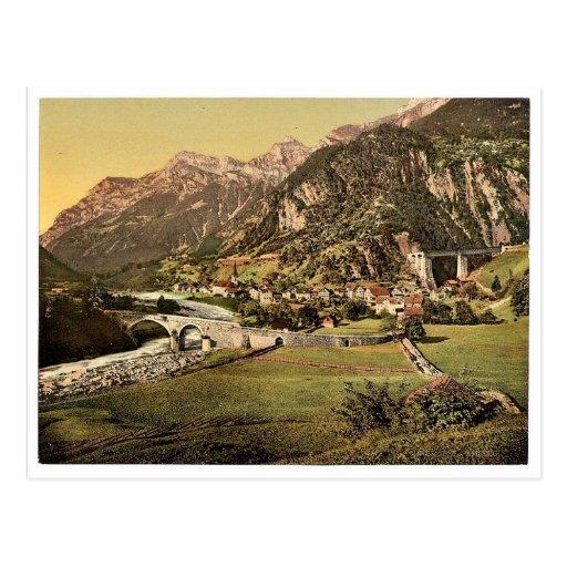 Amsteg, allgemeine Ansicht, Eisenbahn St. Postkarten