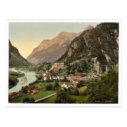 Amsteg, von der Eisenbahn, Eisenbahn St. Gotthard, Postkarten