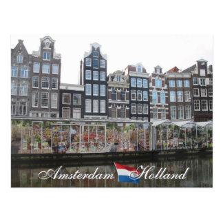 Amsterdam-Blumen-Markt-Holland-Postkarte Postkarte