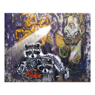 Amsterdam-Graffiti-Straßen-Kunst Nr. 1 - Waschbär 11,4 X 14,2 Cm Flyer