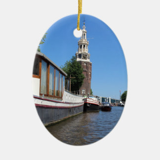 Amsterdam-Kanalansicht - Boote und Helm Keramik Ornament