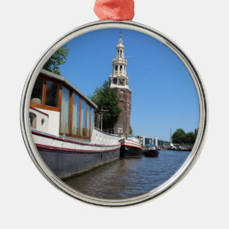 Amsterdam-Kanalansicht - Boote und Helm Rundes Silberfarbenes Ornament