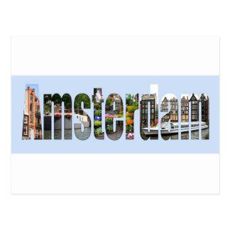 Amsterdam mit Touristenanblick in den Buchstaben Postkarte