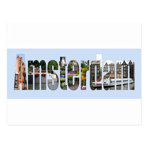 Amsterdam mit Touristenanblick in den Buchstaben Postkarten