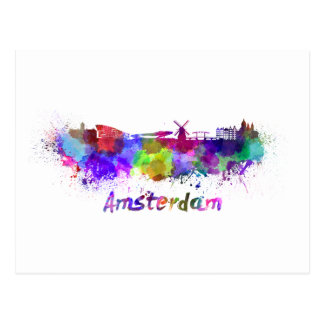 Amsterdam skyline im Watercolor Postkarte