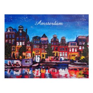 Amsterdam-Skyline mit Kanal nachts Postkarte