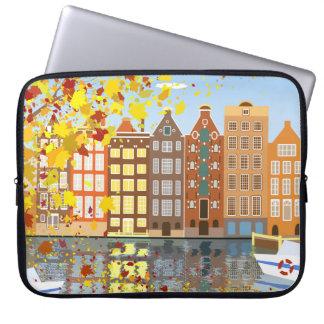 Amsterdam-Stadt-Kanal-Herbst-bunte Laptop-Hülse Laptopschutzhülle