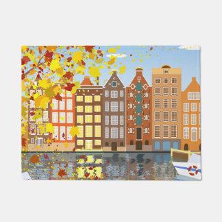 Amsterdam-Stadt-Kanal-Herbst-bunte Tür-Matte Türmatte