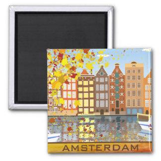 Amsterdam-Stadt-Kanal-Herbst-bunter Fall-Magnet Quadratischer Magnet