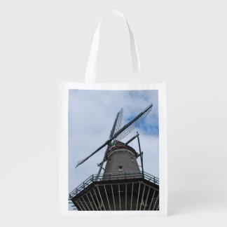 Amsterdam-Windmühle mit blauem Himmel Wiederverwendbare Einkaufstasche