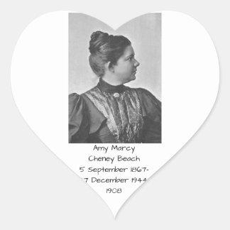 Amy Marcy Cheney Strand 1908 Herz-Aufkleber