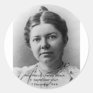 Amy Marcy Cheney Strand 1908 Runder Aufkleber