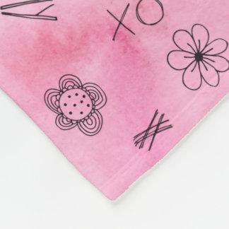 Amy personalisiertes rosa Watercolormuster Fleecedecke