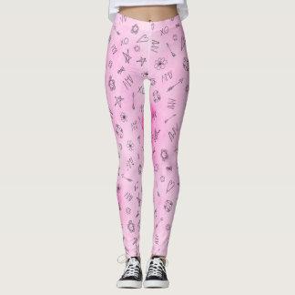 Amy personalisiertes rosa Watercolormuster Leggings