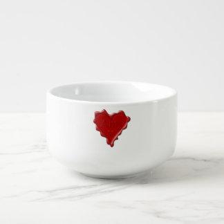 Amy. Rotes Herzwachs-Siegel mit NamensAmy Große Suppentasse