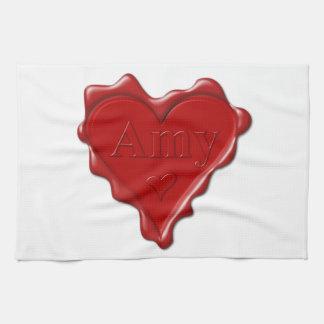 Amy. Rotes Herzwachs-Siegel mit NamensAmy Handtuch