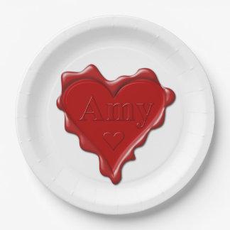 Amy. Rotes Herzwachs-Siegel mit NamensAmy Pappteller
