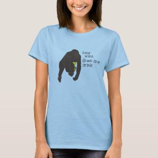 Amy wollen grünes Tropfen-Getränk T-Shirt