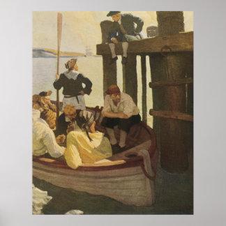 An der Fähre der Königin durch NC Wyeth, Vintage Poster