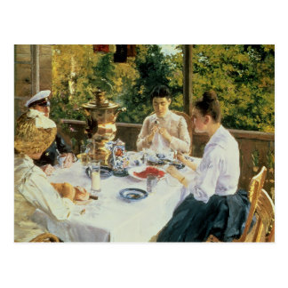 An der Tee-Tabelle 1888 Postkarte