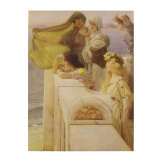 An der Wiege der Aphrodite durch Sir Lawrence Alma Holzleinwand
