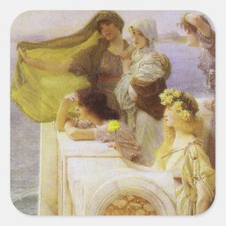 An der Wiege der Aphrodite durch Sir Lawrence Alma Quadratischer Aufkleber