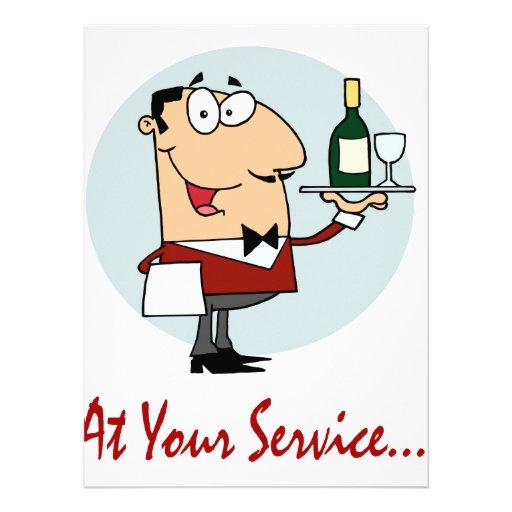 an Ihrem lustigen Butlercharakter des Services Personalisierte Einladung