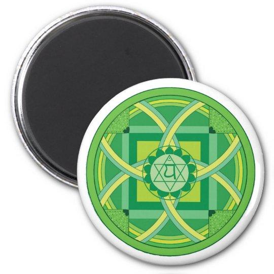 Anahata chakra Mandala Runder Magnet 5,7 Cm
