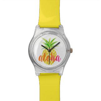 Ananas-Aquarell-Aloha tropische Uhr