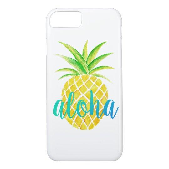 Ananas-Aquarell-tropischer Aloha Türkis iPhone 7 Hülle