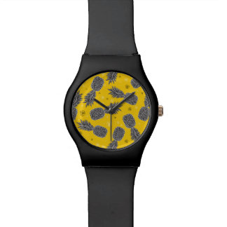 Ananas auf Gold Armbanduhr