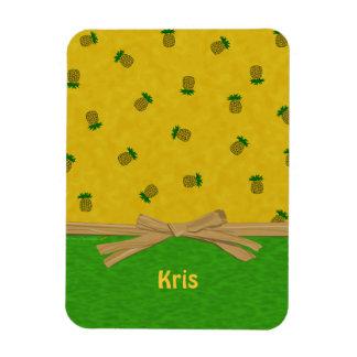Ananas gelb und grüner tropischer individueller Na Eckiger Magnet
