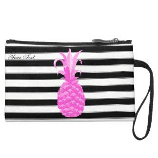 Ananas im Pink mit Streifen u. rosa Punkten Mini Velour Clutch