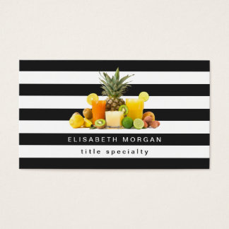 Ananas-Kiwi-Fruchtsaft - Schwarz-weiße Streifen Visitenkarte