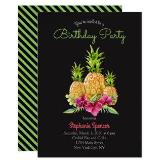 Ananas-Orchideen-Farn-tropischer Geburtstag 12,7 X 17,8 Cm Einladungskarte