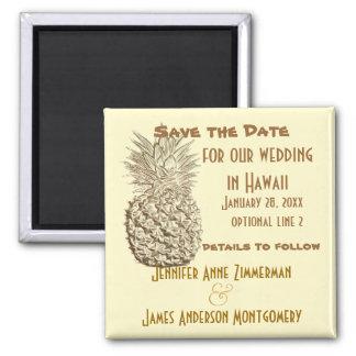 Ananas-Save the Date klassisches gelbes Gold Quadratischer Magnet