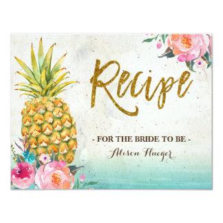 Ananas-Sommer-tropische Strand-Rezept-Karte 10,8 X 14 Cm Einladungskarte